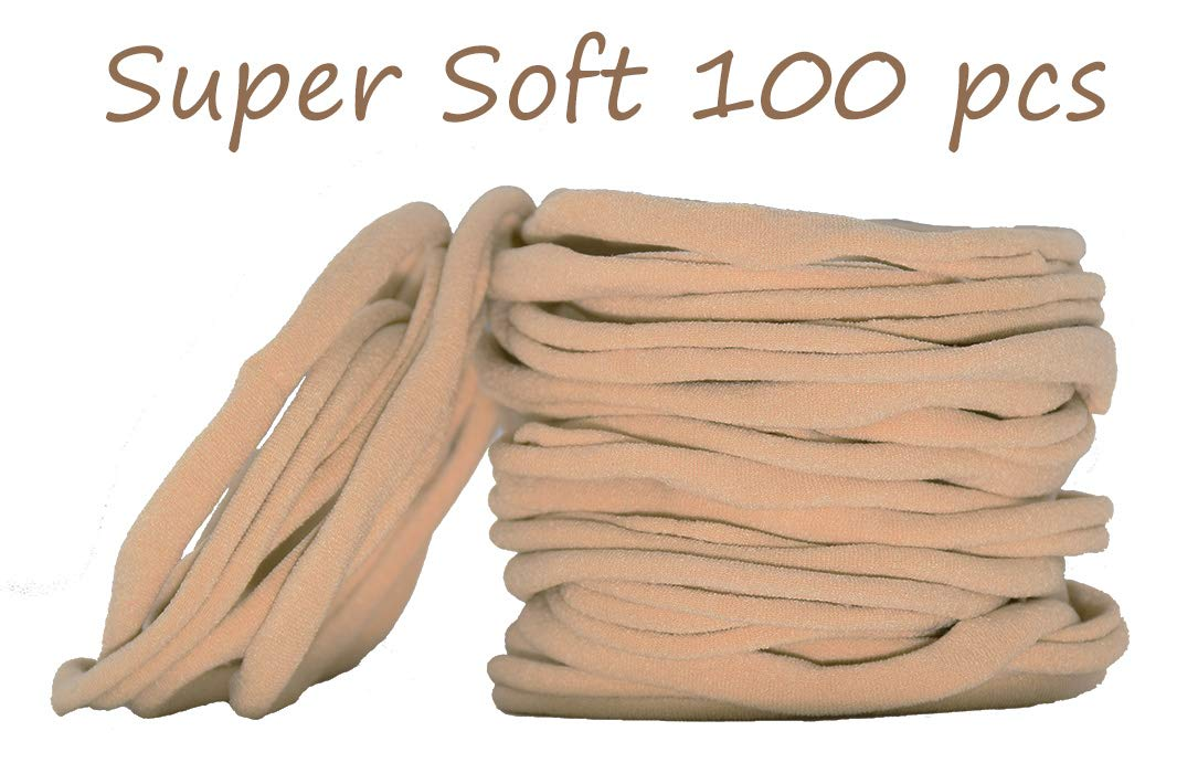 Super Soft Nude Nylon Headband For Newborn Baby Kids, High Stretchy, 100 Pcs For DIY Crafts by catin