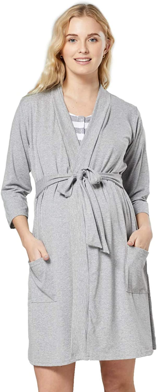 HAPPY MAMA Damen Umstands Stillnachthemd Morgenmantel Set Stillfunktion 1343