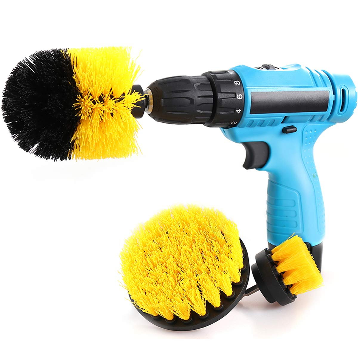 Drill Brush Attachment Kits, 3 Pieces Cleaning Power Scrubber Brush Heads for Cordless/Corded Drills, All Purpose Bathroom Surface, Grout, Tub, Shower, Kitchen, Drill Is Not Included (Medium-Yellow) by HENGQIANG (Image #1)