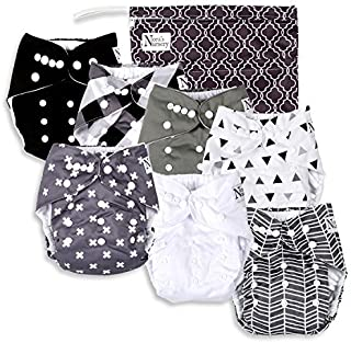 Nora's Nursery - B&W Baby Cloth Pocket Diapers 7 Pack, 7 Bamboo Inserts, & Wet Bag