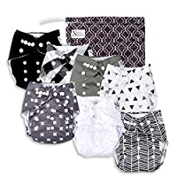 Baby Cloth Pocket Diapers 7 Pack, 7 Bamboo Inserts, 1 Wet Bag by Nora's Nurse...