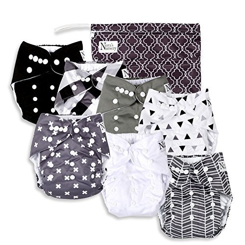 Organic Pocket Diapers - Unisex Baby Cloth Pocket Diapers 7 Pack, 7 Bamboo Inserts, 1 Wet Bag by Nora's Nursery