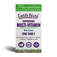 Paradise Herbs - Earth's Blend® Superfood Multivitamin No Iron - Orac Energy Greens + Nature's C + Minerals + Probiotics + Adaptogens + Herbs   Help Support Overall Whole System Health - 60 Count