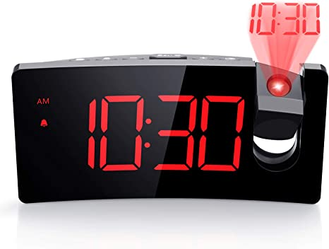 Amazon.com: PICTEK Projection Alarm Clock, 4 Dimmer, Digital Clock with USB  Phone Charger, Easy to Use, Clear Big Red Digit, 5'' LED Curved Screen,  180° Rotable, Digital Alarm Clocks for Bedrooms Ceiling,