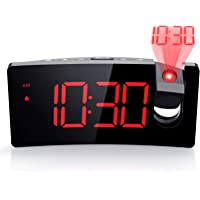 PICTEK Projection Alarm Clock, 4 Dimmer, Digital Clock with USB Phone Charger, Easy to Use, Clear Big Red Digit, 5'' LED…