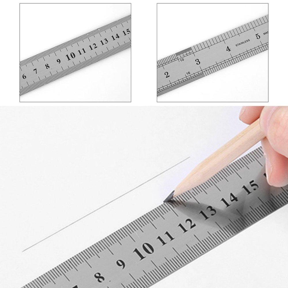 3//× kentop Acero Inoxidable Regla Doble Cara Regla de Acero con Tabla de Conversi/ón , 15/cm , 20/cm y 30/cm