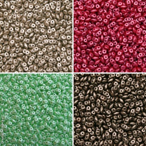 4x20gr, 4 Colors Unique Set SRK5017, SuperDuo 2, 5x5mm Czech Glass Seed Beads, Pastel Colors: Lt. Brown/Coco, Dark Coral, Light Chrysolite, Dark Brown/Bronze (RK5005, RK5010, RK5023, RK5036)