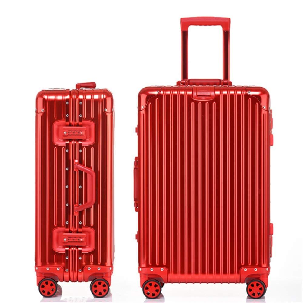 スーツケース TSAロック付きハードアルミ軽量キャリーオンコラムサイレントローテーター多方向航空機搭乗付きオールアルミロータリートラベルラゲッジトロリーケース あなたとスーツケースを持っていく (色 : 赤, サイズ : 24inches) B07SZTD7LG 赤 24inches