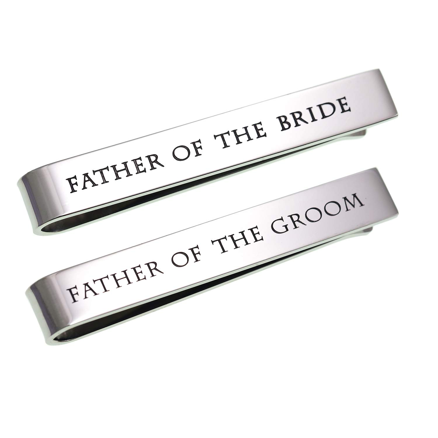 LParkin Stainless Steel Tie Clip Wedding Set - Father of The Groom Tie Clip - Father of The Bride Tie Bar (Set of 2 White)