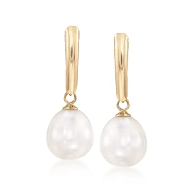 2705af950 Amazon.com: Ross-Simons 8.5-9mm Cultured Pearl Drop Earrings in 14kt Yellow  Gold: Jewelry