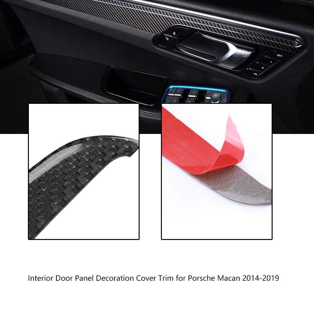 Duokon 4Pcs Pannello Decorativo per Porta Interna in Fibra di Carbonio Trim per Porsche Macan 2014-2019