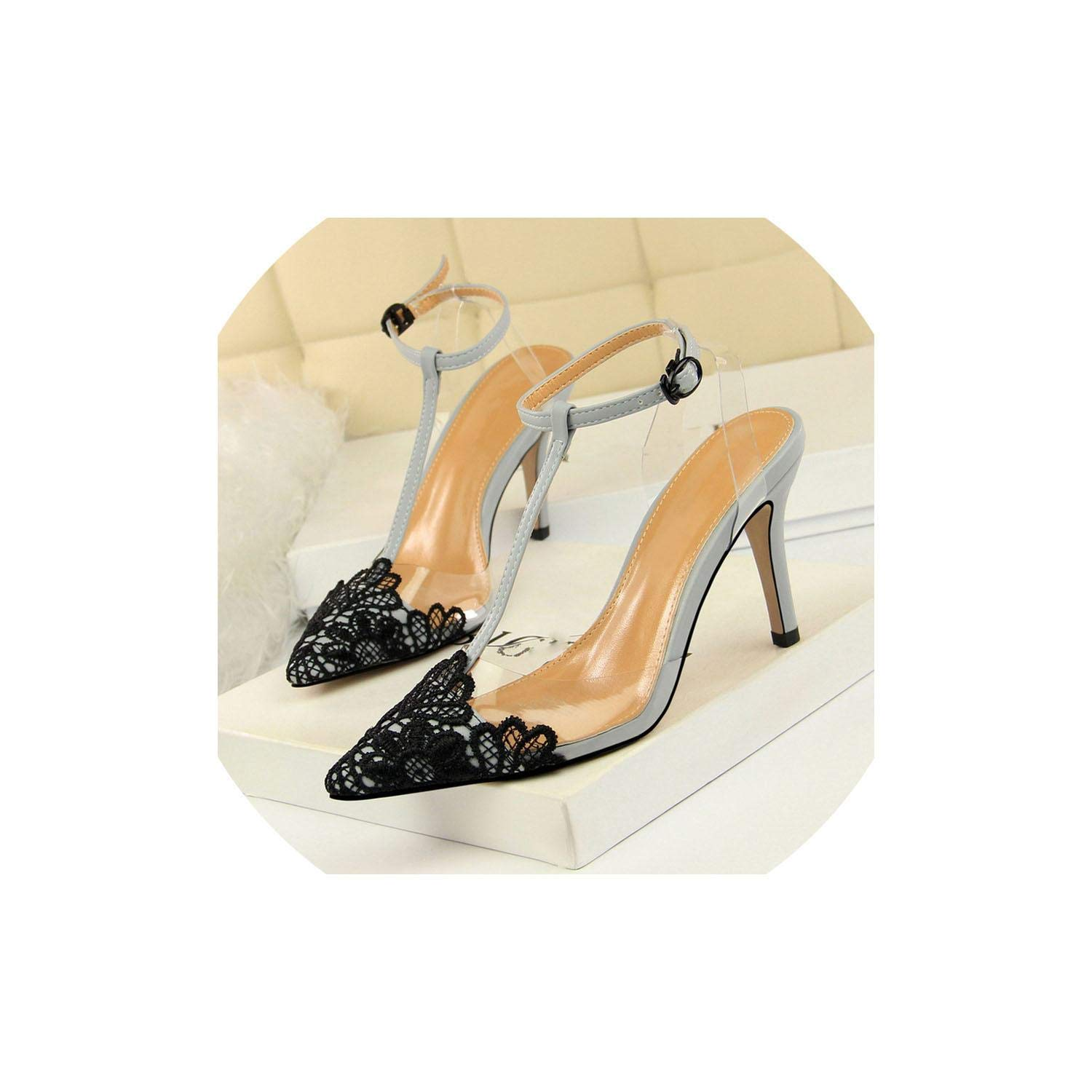 Boom-moon Transparent Lace Pumps Pointed Toe High Heeled Women Shoes Sandals