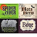 "Spooky Halloween Party 2 Liter Bottle Sticker Tableware, Paper, 5"" x 7"" Pack of 4"