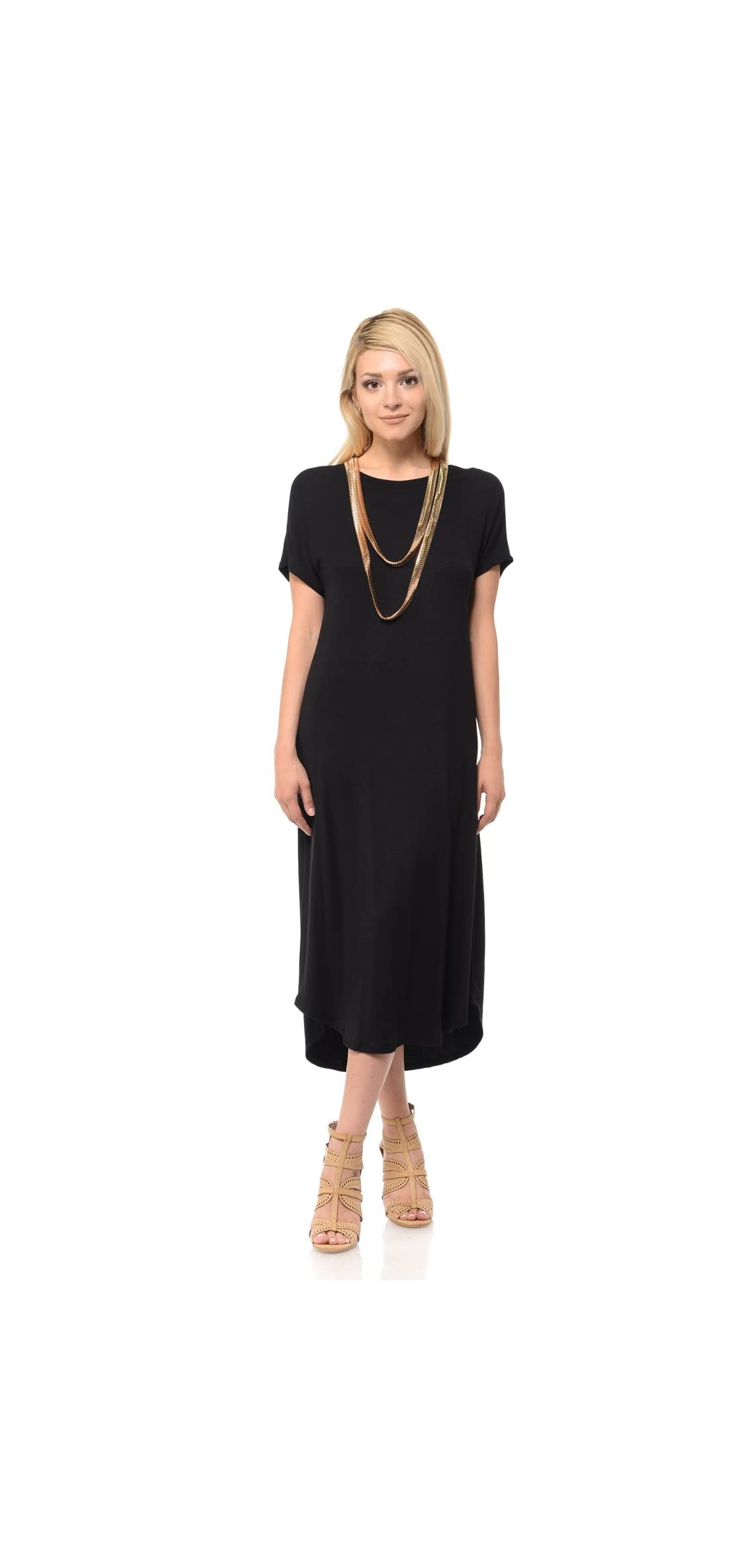 Women's A-line Short Sleeve Midi Dress Solid And