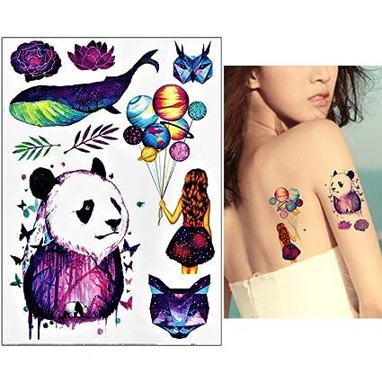 Lecoolz - Tatuaje temporal, diseño de gato panda y ballena: Amazon ...