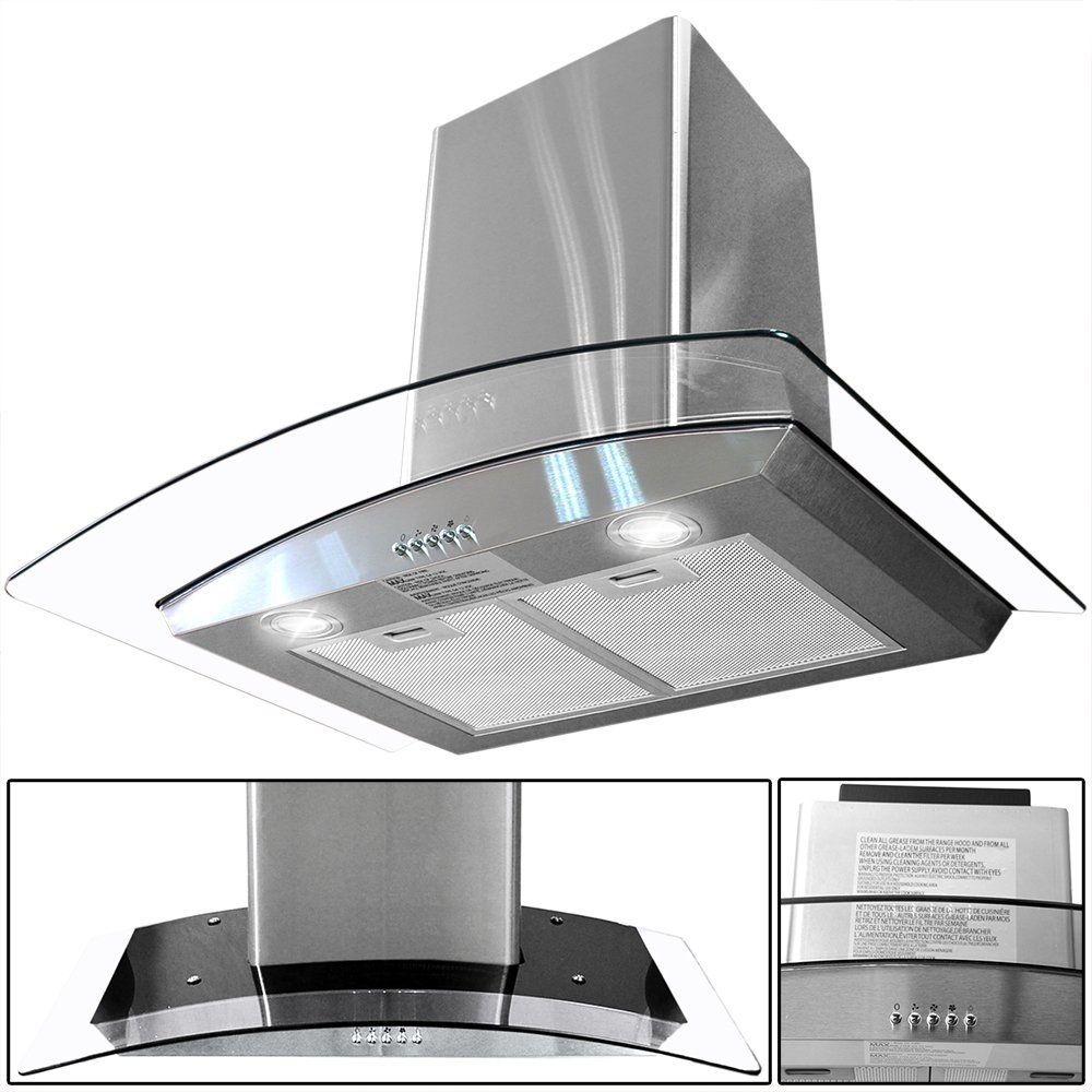 amazoncom toyofmine 30 kitchen wall mount stainless steel glass range hood stove vents appliances