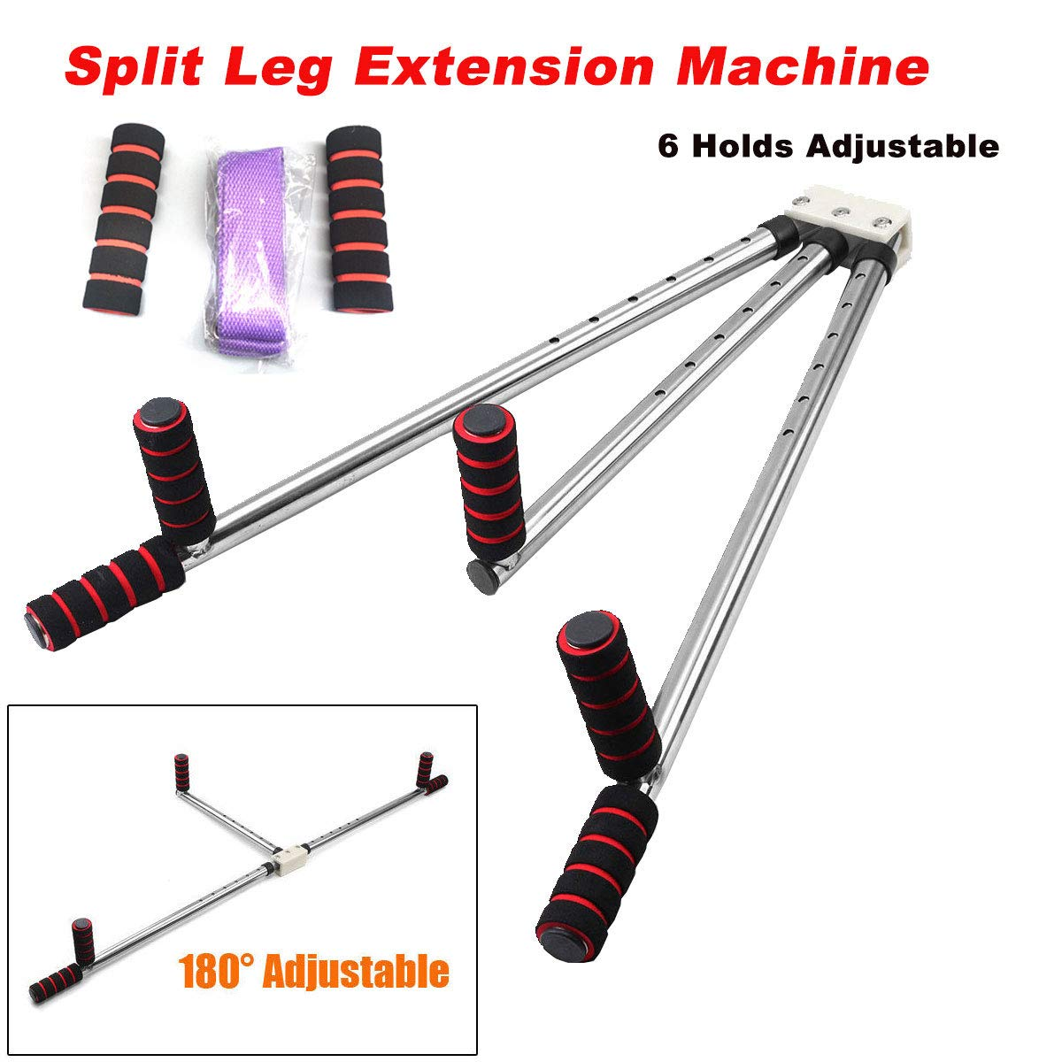 DOMINTY 3 Bar Leg Stretcher Leg Split Extension Device Stainless Steel Leg Support Yoga Exercise Martial Arts Gym Flexibility Training Machine-Sports Fitness Wellness