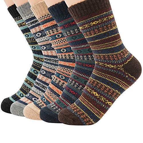 (Zando Women Cabin Socks Comfort Wool Sock Warm Winter Cabin Socks Cozy Thick Crew Sock for Women 5 Pack - Stripe 6-11(US))