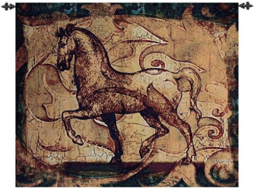 "Golden Age Medieval Stallion Horse Cotton Wall Art Hanging Tapestry 35"" x 42"""