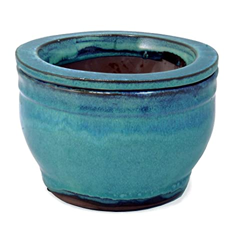 Amazoncom 6 Ceramic Self Watering Pot Ocean Blue Garden Outdoor