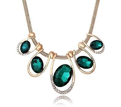 Emerald Austrian Swarovski Crystal Statement Chunky Bohemia Chain Statement Jewellery Gold Necklace, Perfect Gift