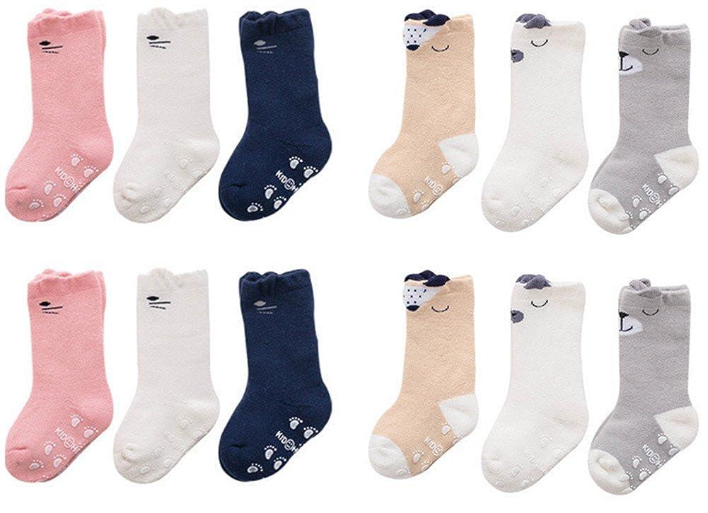 Baby Non-skid Socks Toddler Cozy Socks Knee High Socks for 0-36 Months (6 Pairs) Wellwear