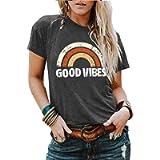 YourTops Women Good Vibes T-Shirt Tank Blouse Rainbow Shirt