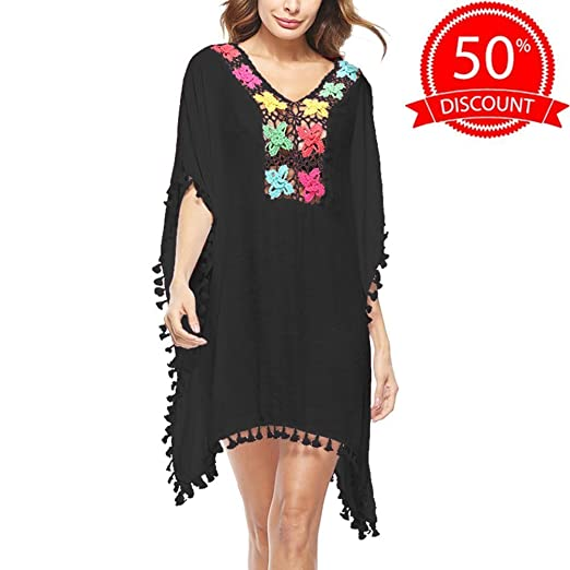 50b4cb600b4bd Beach Cover Up for Women Swimwear Dresses Loose Bathing Suit Bikini Swimsuit  Coverups Crochet Beach Dress