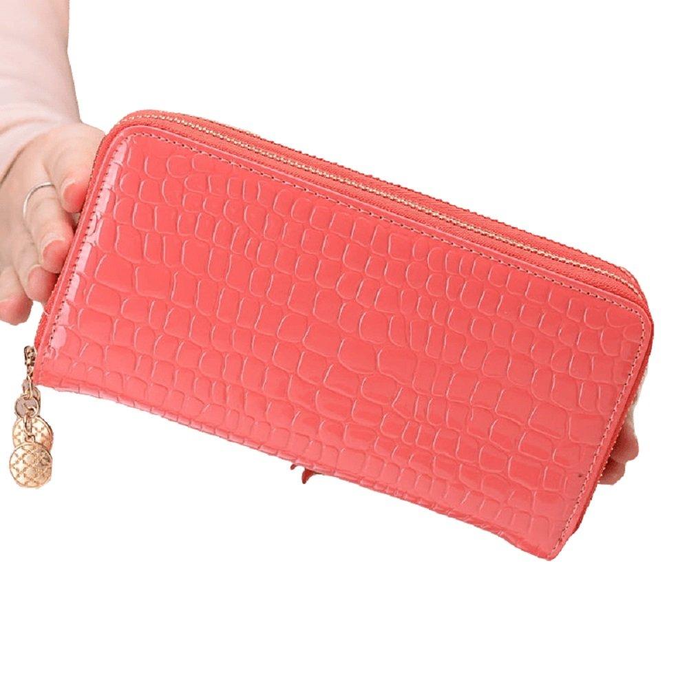 Oudan Frau Lange Brieftasche Brieftasche Brieftasche Leder Geldbörsen Elegante große Kapazität Krotitkarteninhaber luxuriöse Reise (Farbe   Wassermelonenrot, Größe   Einheitsgröße) B07DZRJXY7 Umhngetaschen Ausgezeichnete Qualität a1c1a2