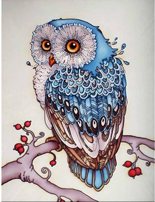 Kayi Peinture De Diamant 5d à Faire Soi Même Motif Hibou Sur La Branche Multi Plis Bleumotifs Chouettes 8 X 12 Inch