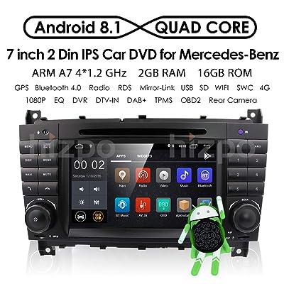 Android 8.1 Car Audio Stéréo pour Mercedes Benz W203 W209 1024 * 600 Touch Lecteur de DVD Double DIN Tête unité support GPS SAT NAV, DAB +, BT, RDS radio, miroir Link, SWC, 4 G, WiFi Cam-in, OBD2 High-tech