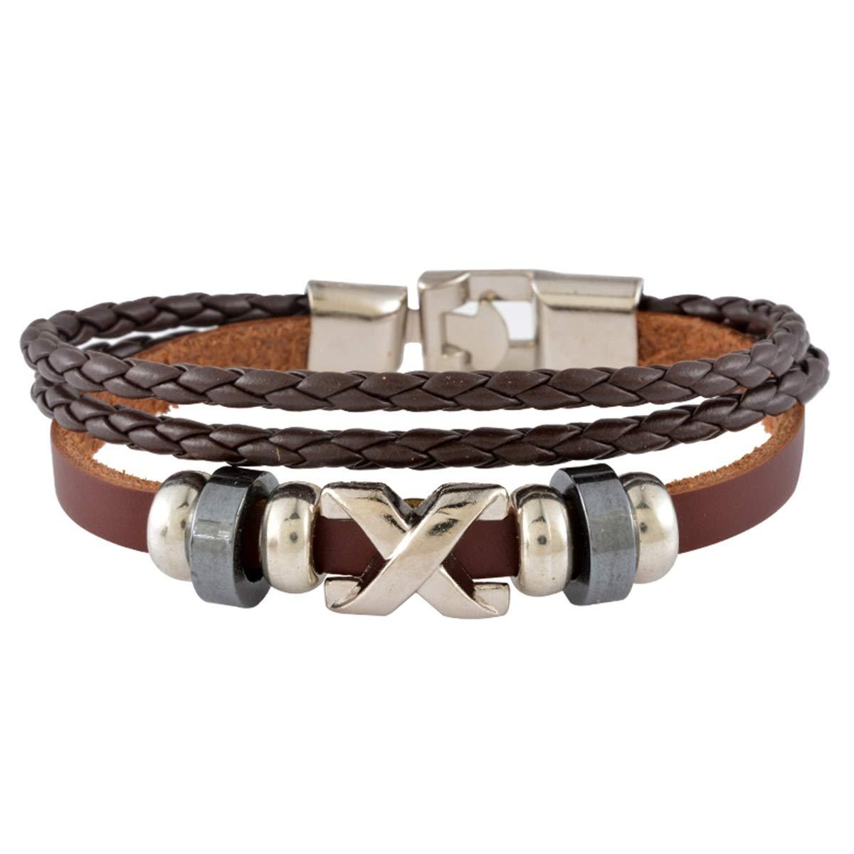 Housweety X Letters Stainless Steel Bracelet Brown
