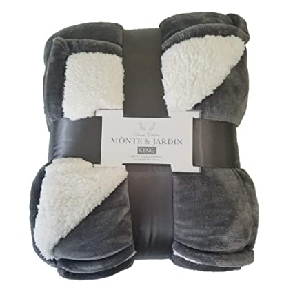 Monte and Jardin King Gray Sherpa Blanket 112 by 92 Over 10,000 Square inches