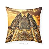 VROSELV Custom Cotton Linen Pillowcase Gothic Decor Famous Cathedral European Church Catholic Gifts Sunset Tower Medieval Architecture Prague Picture Believe Art Christian Living Room Bedroo 22''x22''