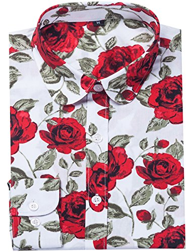 Rose Blouse Print (DOKKIA Women's Fashion Tops Feminine Long Sleeve Button Down Work Casual Dress Blouses Shirts (Medium, White Rose))