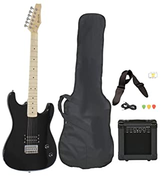Amazon Com Full Size Black Electric Guitar With Amp Case And