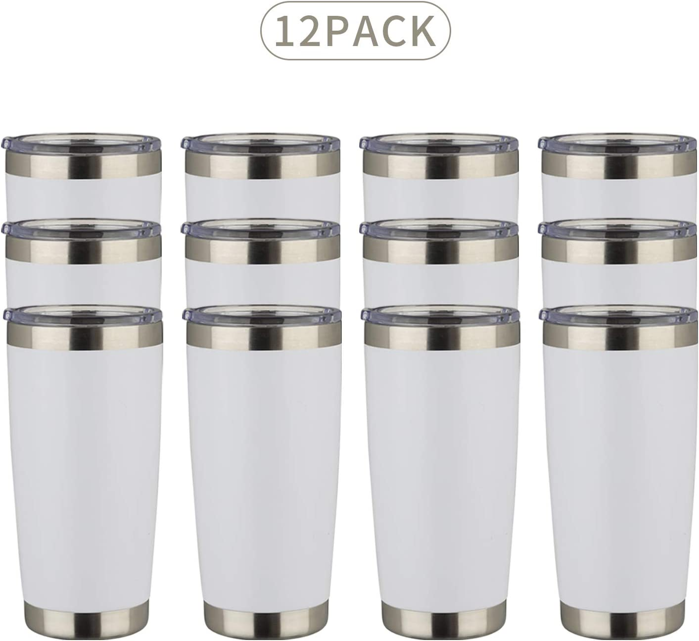 MUCHENGHY 20oz Tumbler Double Wall Stainless Steel Vacuum Insulated Travel Mug with Lid, Insulated Coffee Cup Travel Mug, 1 Straws,2 brush (White, 12)