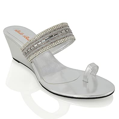 Amazon.com | ESSEX GLAM Womens Wedge Heel Sandals Diamante Sparkly Strap Toe Strap Synthetic Holiday Beach Evening Sandals | Sandals