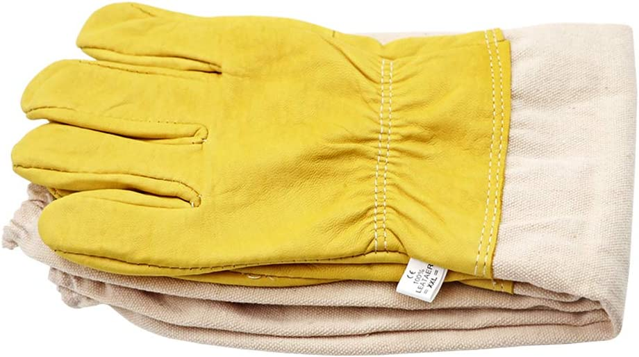 XXL M.Z.A Long Beekeeping Gloves Leather Beekeeper Gloves With Elastic Cuff And Ventilated Sleeves for Men And Women