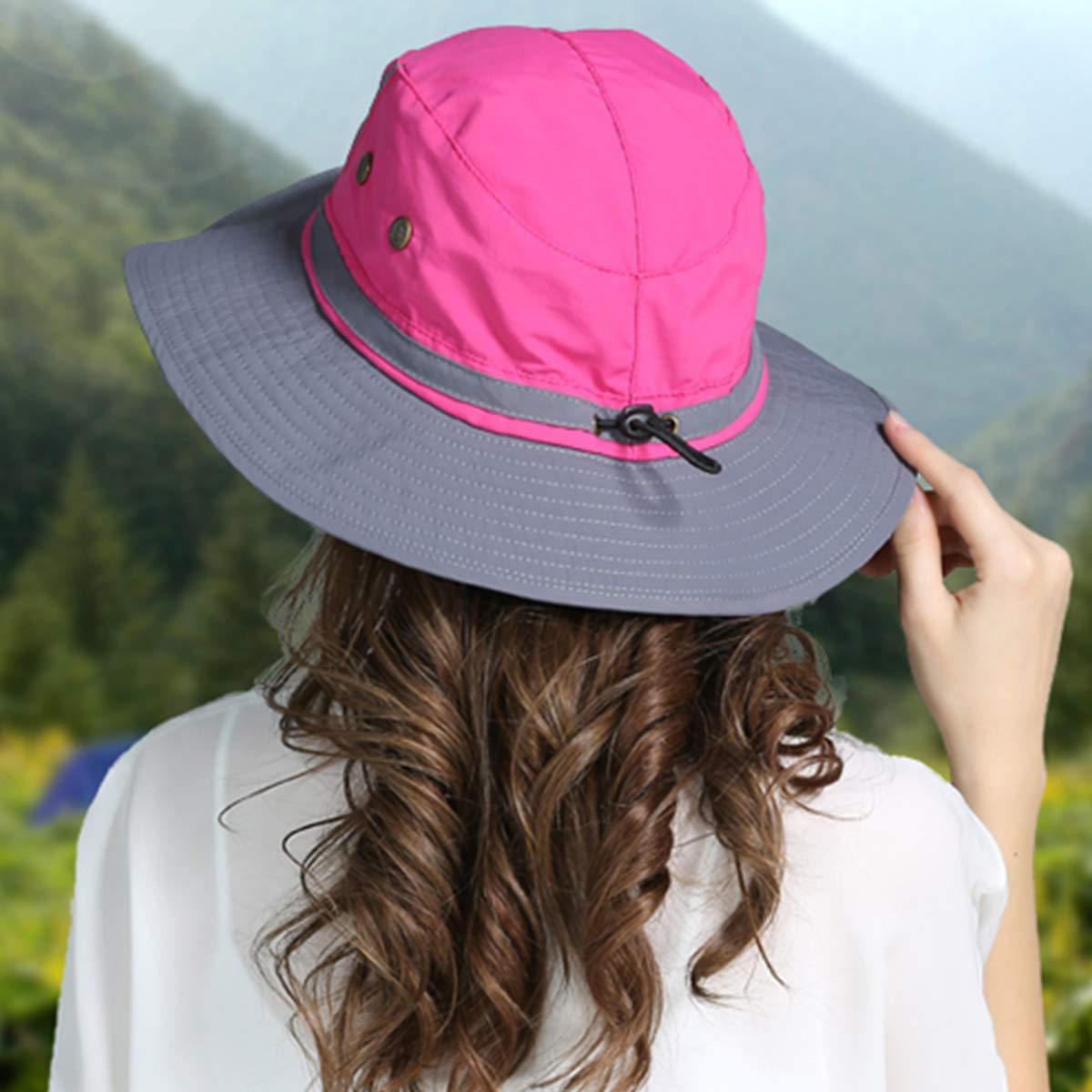 DORRISO Chapeau Soleil Unisexe Pliable Anti UV Outdoor Bucket Hat /Étanche Multifonction Chapeau de Voyage Casquette Polyester