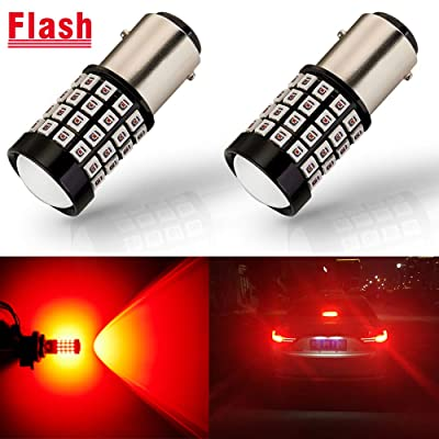 ANTLINE Newest 1157 LED Bulb Flash Strobe Red (2 Pack), 9-30V Super Bright 1600 Lumens 2057 2357 7528 BAY15D 52-SMD LED with Projector for Replacement, Flashing Strobe Brake Tail Stop Light Bulbs: Automotive