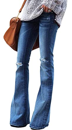 7a051469d60 Women's Flare Jeans, Hight Waist Bell Bottom Jean Slim Bootcut Jean Ripped  Fitted Denim Jeans