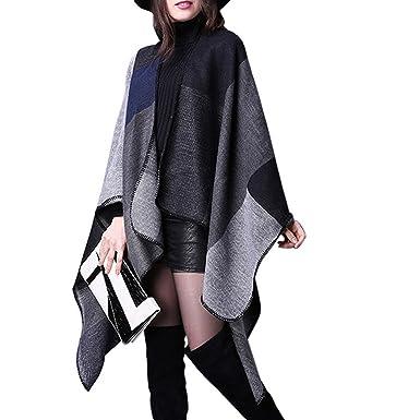 3f0190e36347 Grand Tartan Femme Poncho Châle Foulard Couverture Chaud pour Automne Hiver  - Noir