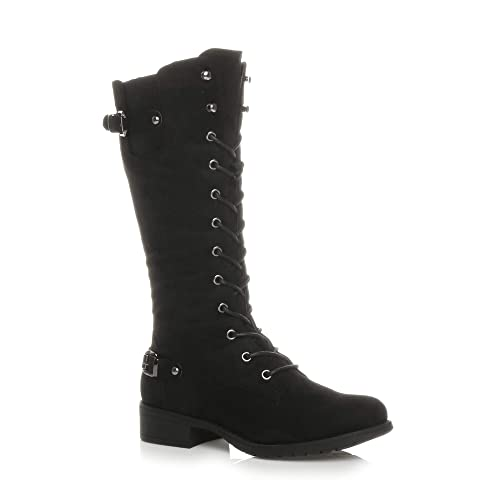 f8ac90e8806bf Womens Ladies Low Heel lace up Zip Biker Army Military Calf Boots, Black  Suede,