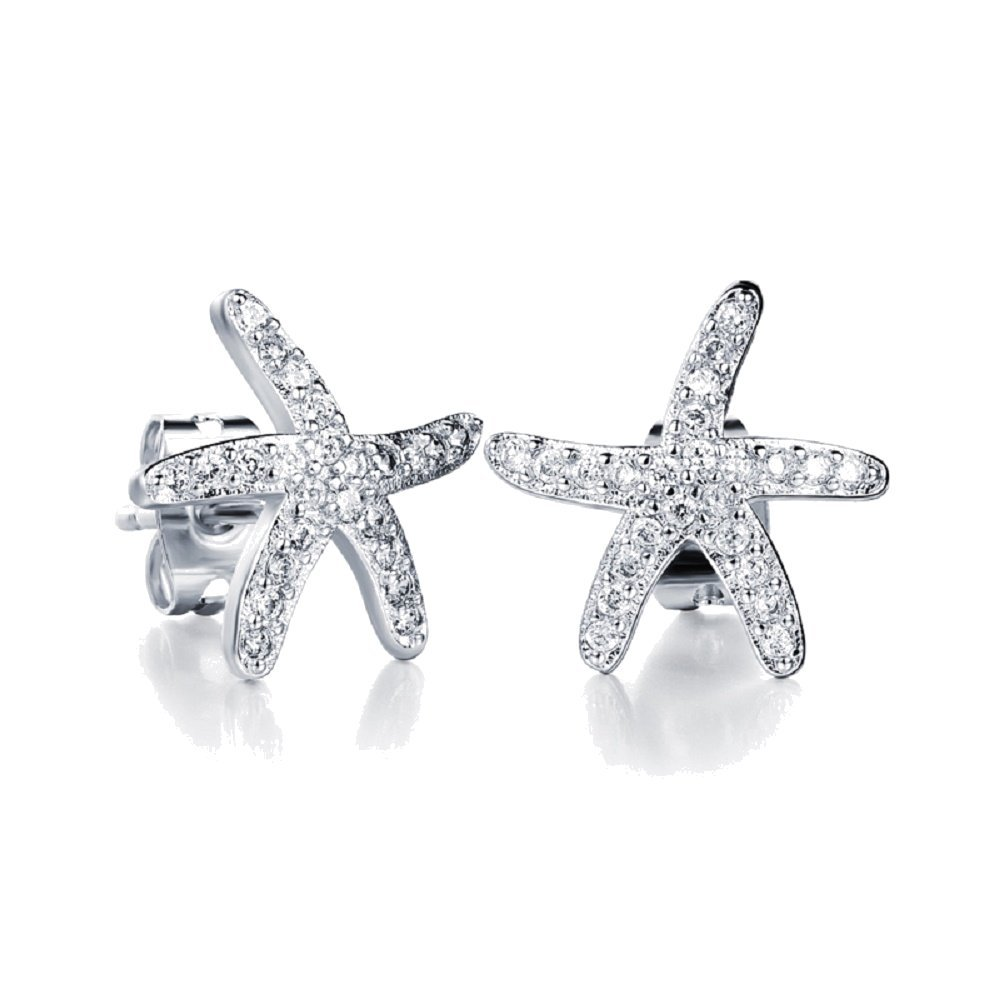 Crystals from Swarovski White Starfishes Stud Earrings 18 ct White Gold Plated for Women and Girls Crystalline CR-AZ-0185