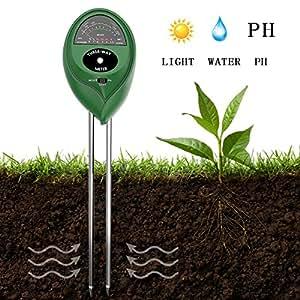 Comprobador de suelo 3en 1humedad del suelo PH medidor para casa, jardín, césped, granja, plantas, hierbas y herramientas de jardinería, planta interior/exterior (no necesita batería)