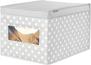 mDesign Soft Stackable Fabric Closet Storage Organizer Holder Box - Clear Window, Attached Hinged Lid, for Child/Kids Room, Nursery, Playroom - Polka Dot Print - Large - Gray with White Dots