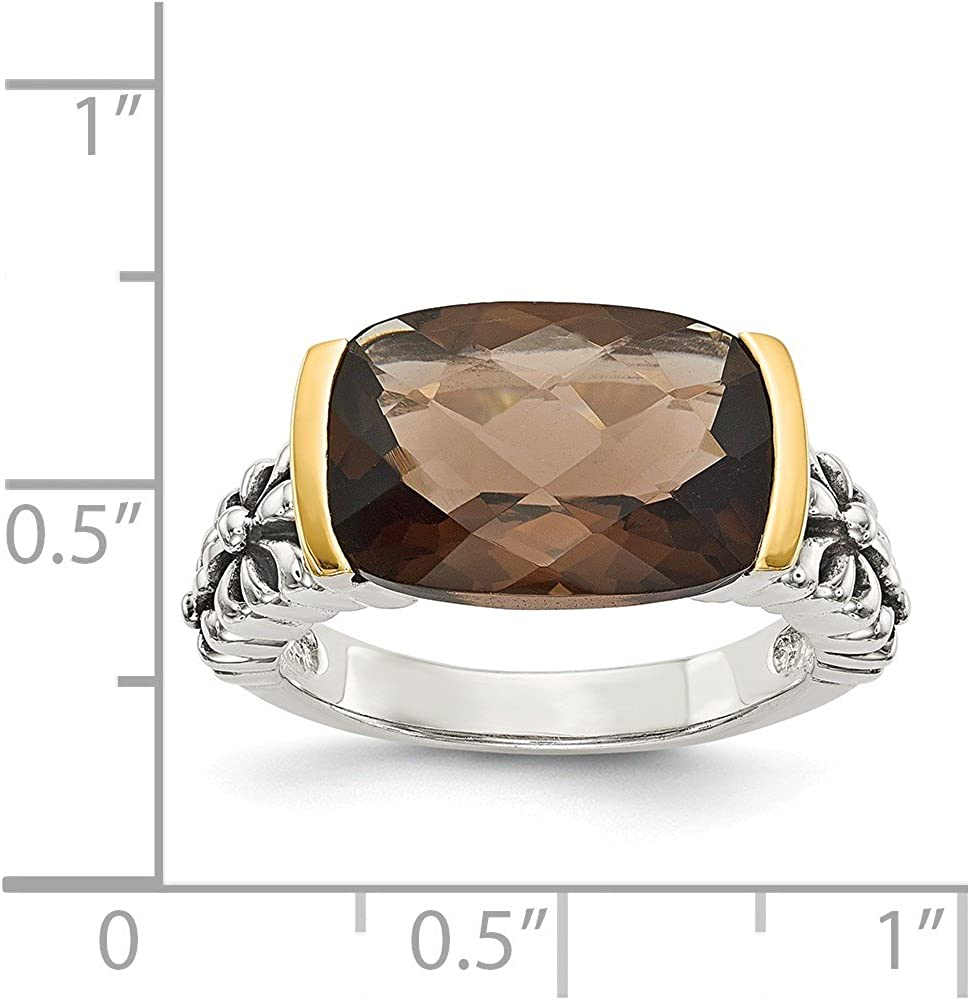 Shey Couture Sterling Silver with 14k Smoky Quartz Ring Size 8
