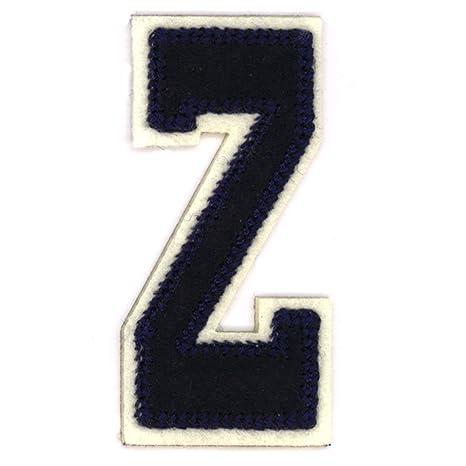 Letras del alfabeto varsity college ropa diseño de estilo azul letra Z