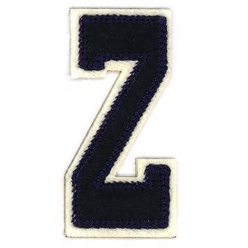 Letras del alfabeto varsity college ropa diseño de estilo azul letra Z: Amazon.es: Hogar